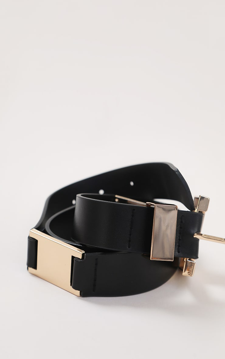 Black PU Gold Chunky Square Buckle Waist Belt 2
