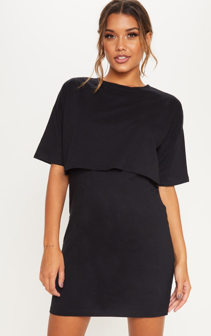 Black Layered Short Sleeve T Shirt Dress