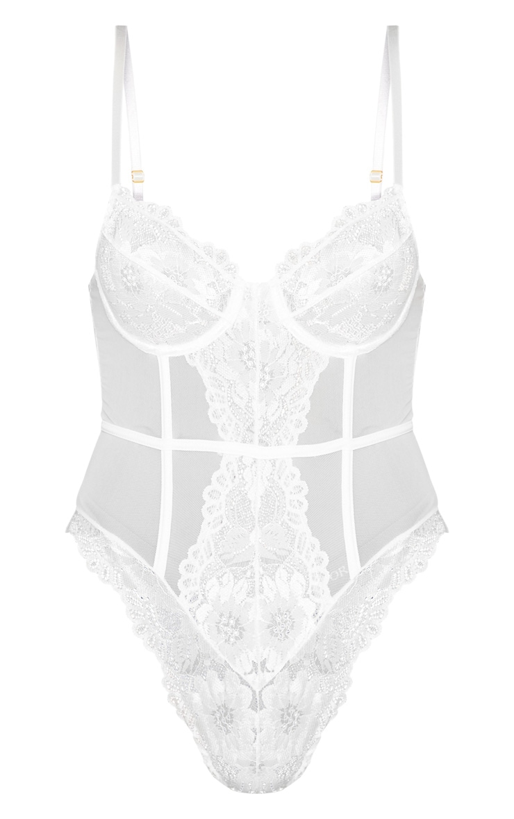 White Underwired Cage Detail Lace Body 7