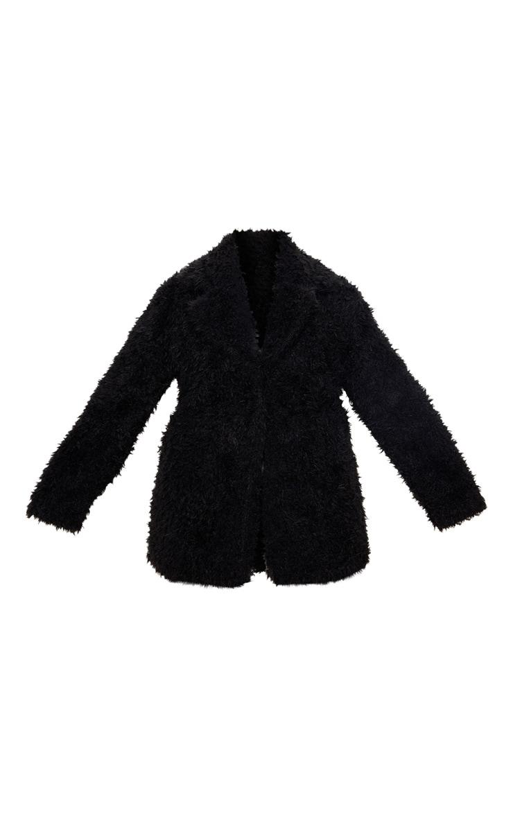 Plus Black Teddy Faux Fur Collar Coat 3