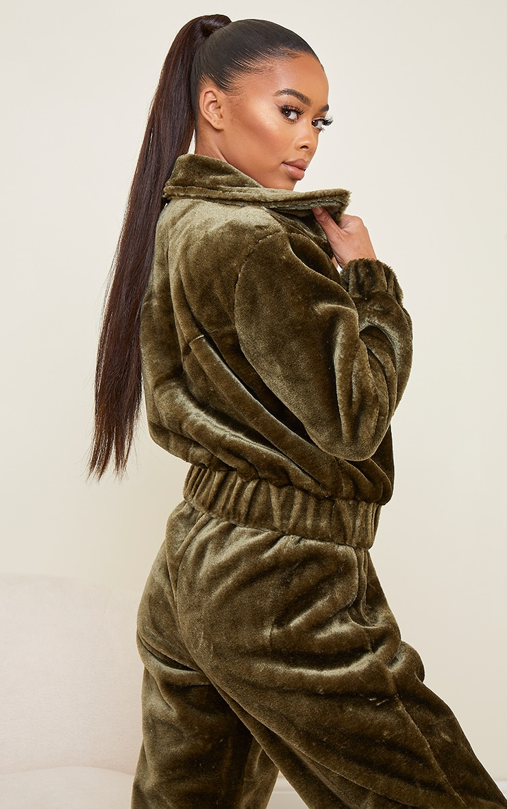 Khaki Faux Fur Zip Detail Jacket 2