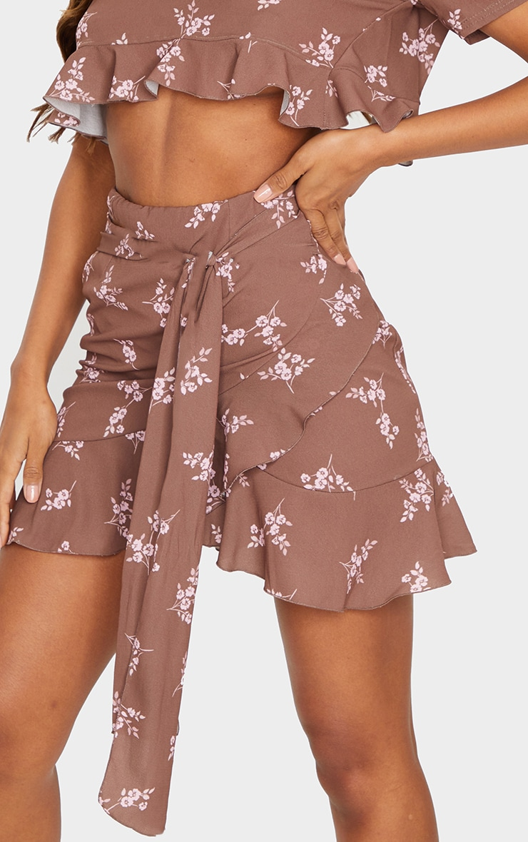 Brown Floral Print Tie Detail Frill Edge Wrap Mini Skirt 5