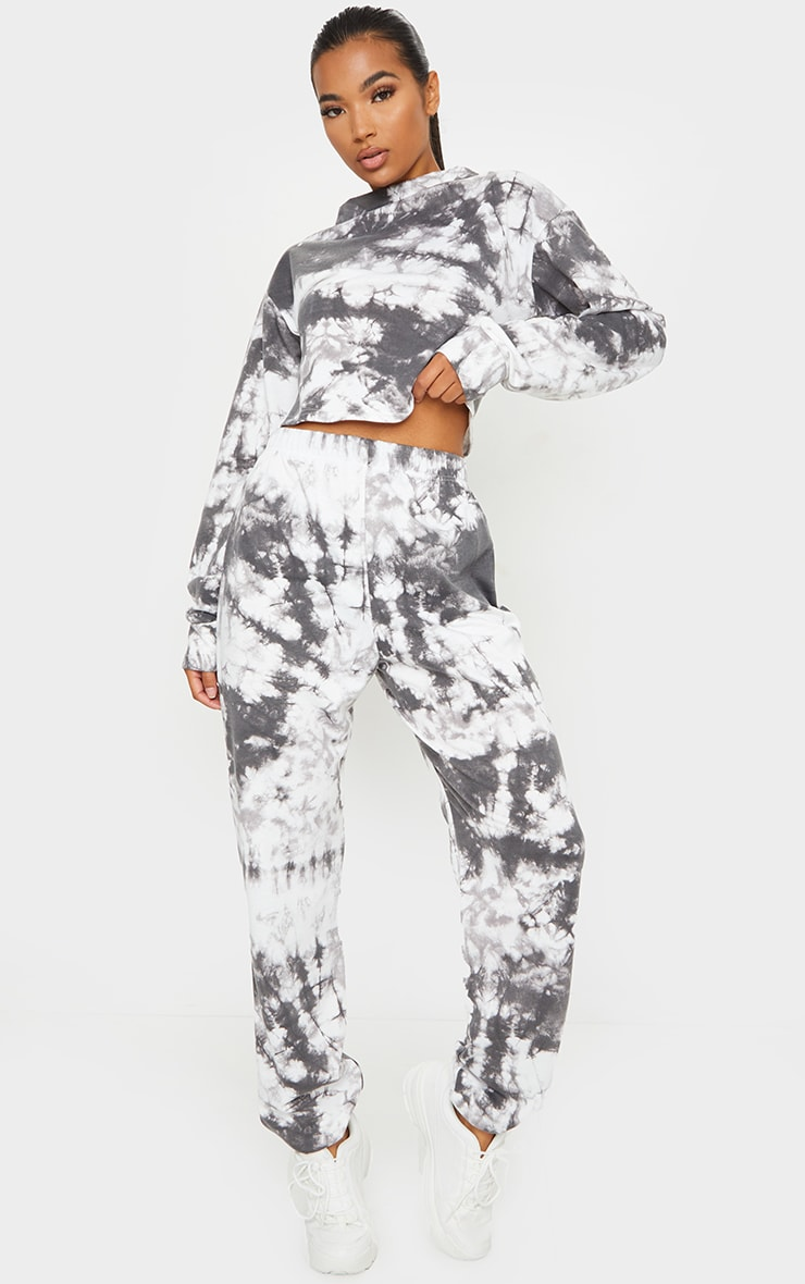 Black Tie Dye Cropped Sweat And Jogger Set 1