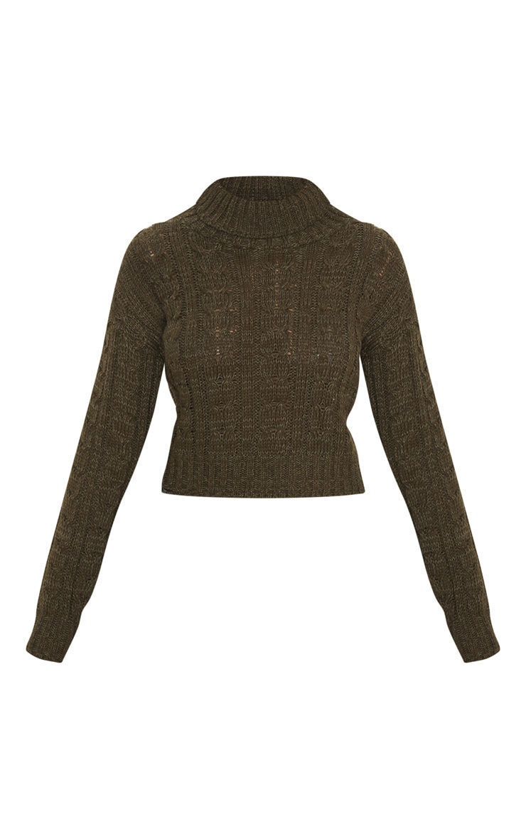 Khaki All Over Cable Knit Roll Neck Crop Sweater 3
