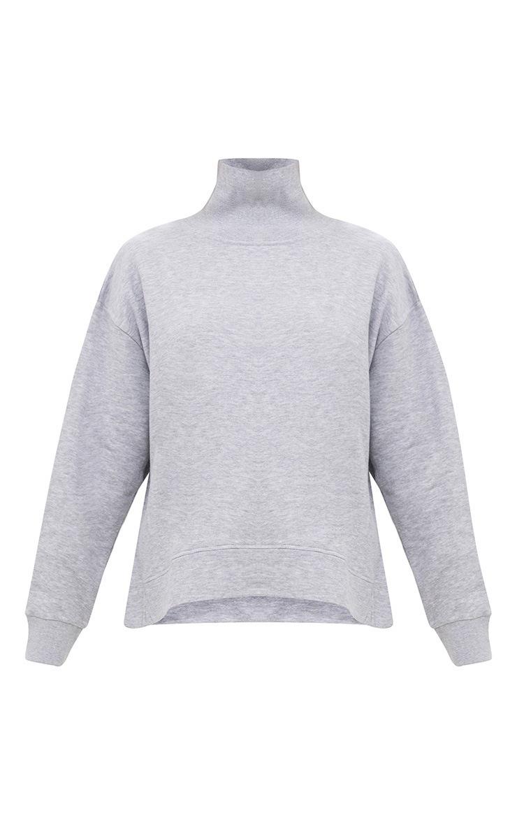 Grey High Neck Oversized Longsleeve Sweater 3