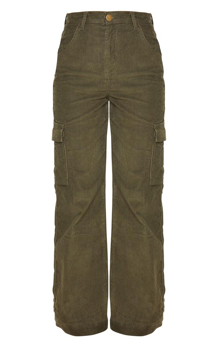 Khaki Cord Cargo Pocket Wide Leg Jeans 3