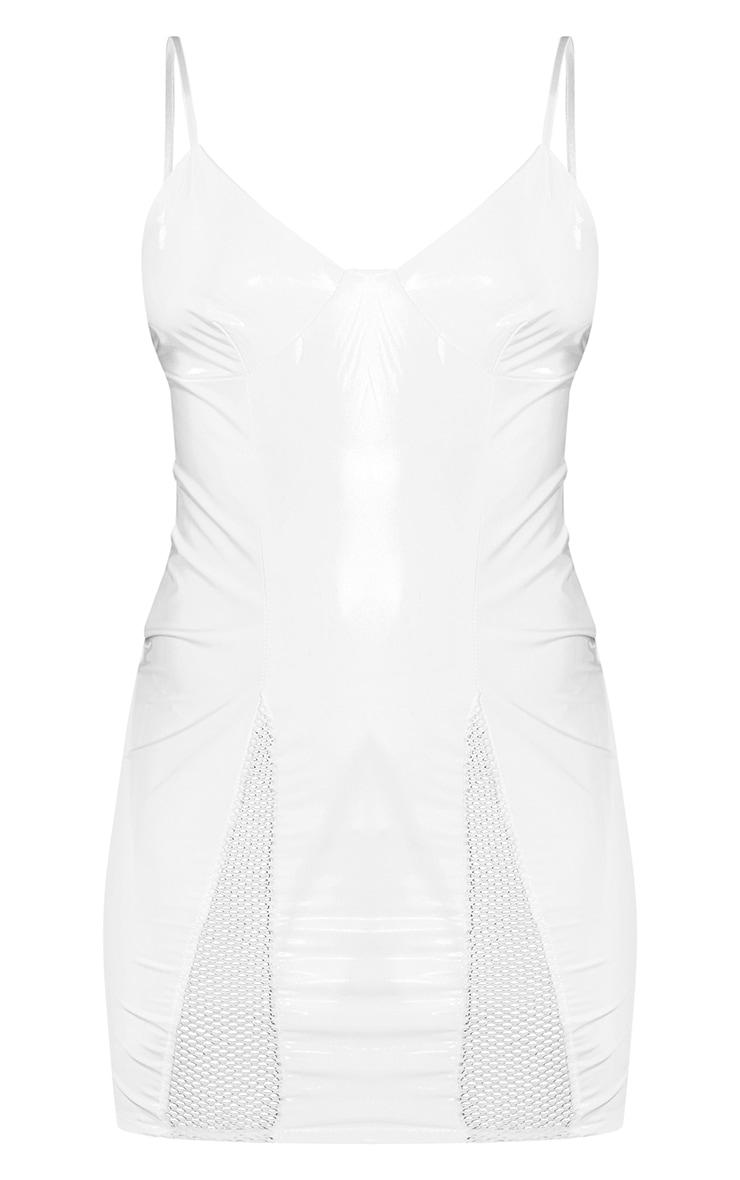 Ivory Vinyl Strappy Bodycon Dress 5