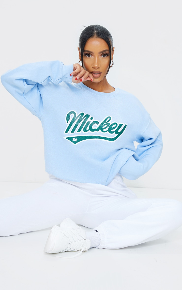Baby Blue Disney Mickey Printed Washed Sweater 3
