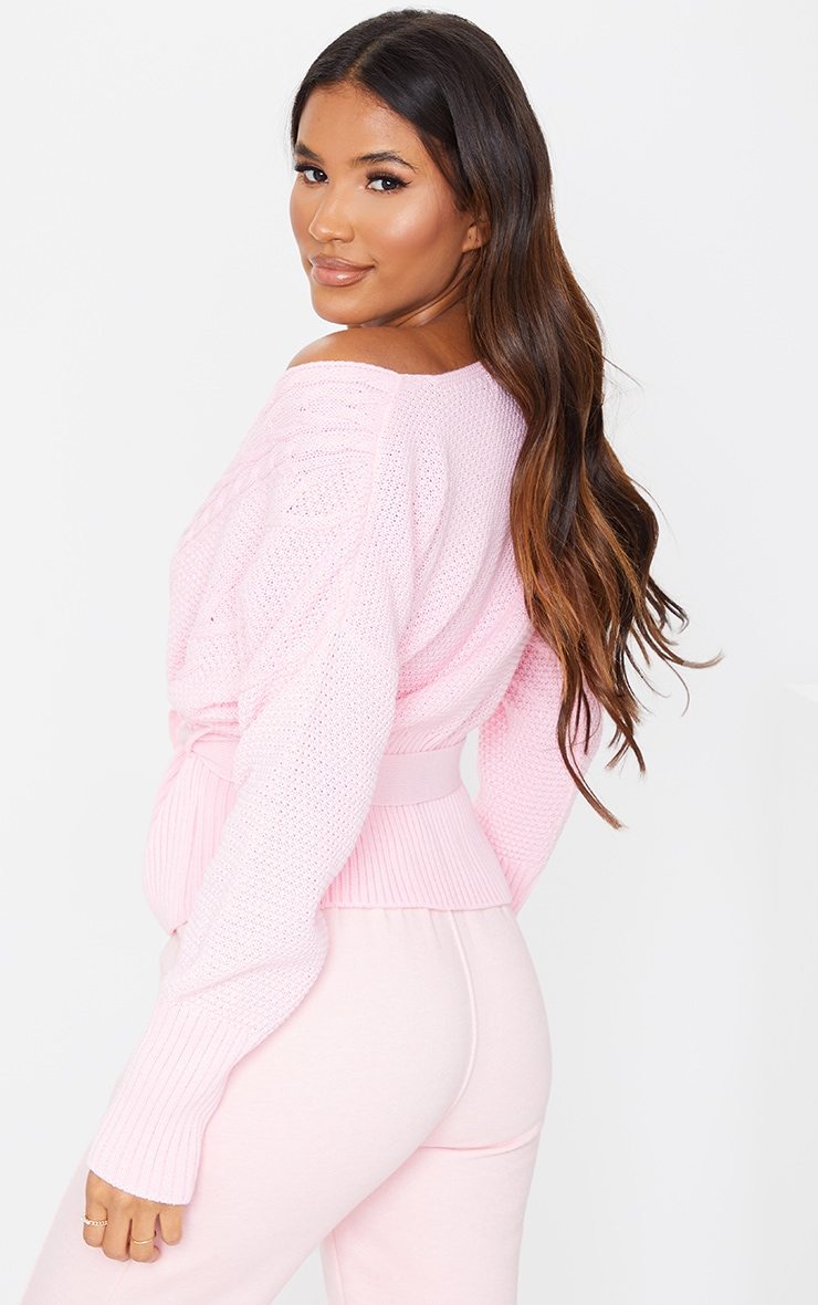 Blush Mixed Cable Off The Shoulder Cardigan 2