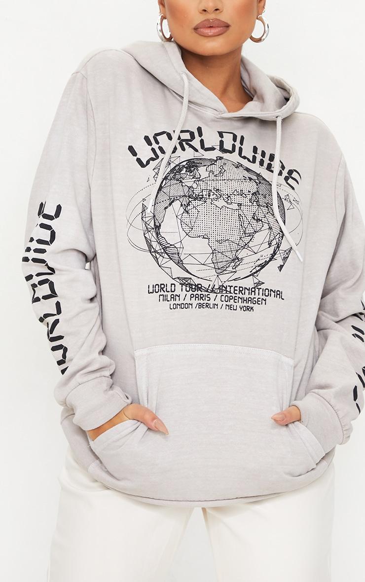 Petite - Hoodie gris pierre à slogan Worldwide 4