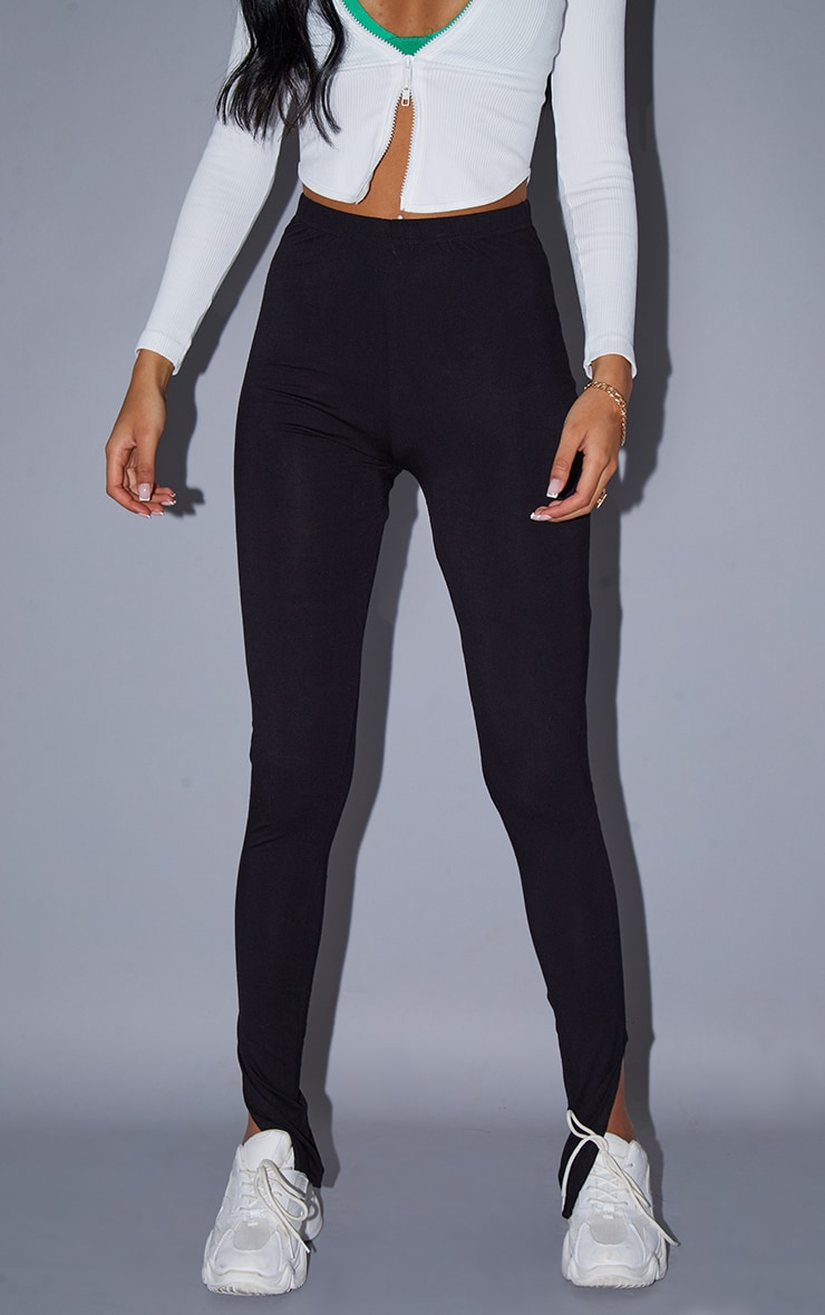 Tall - Legging basique noir en jersey à ourlet fendu 2