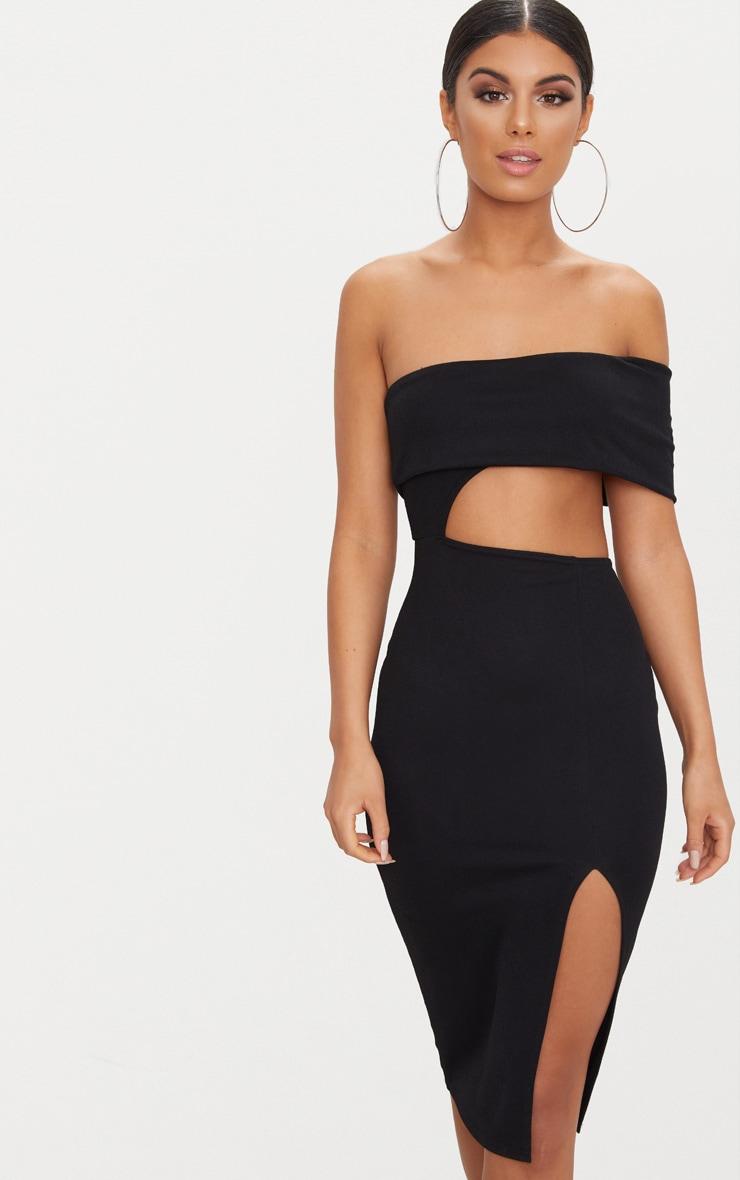 Black One Shoulder Asymmetric Cut Out Midi Dress 4