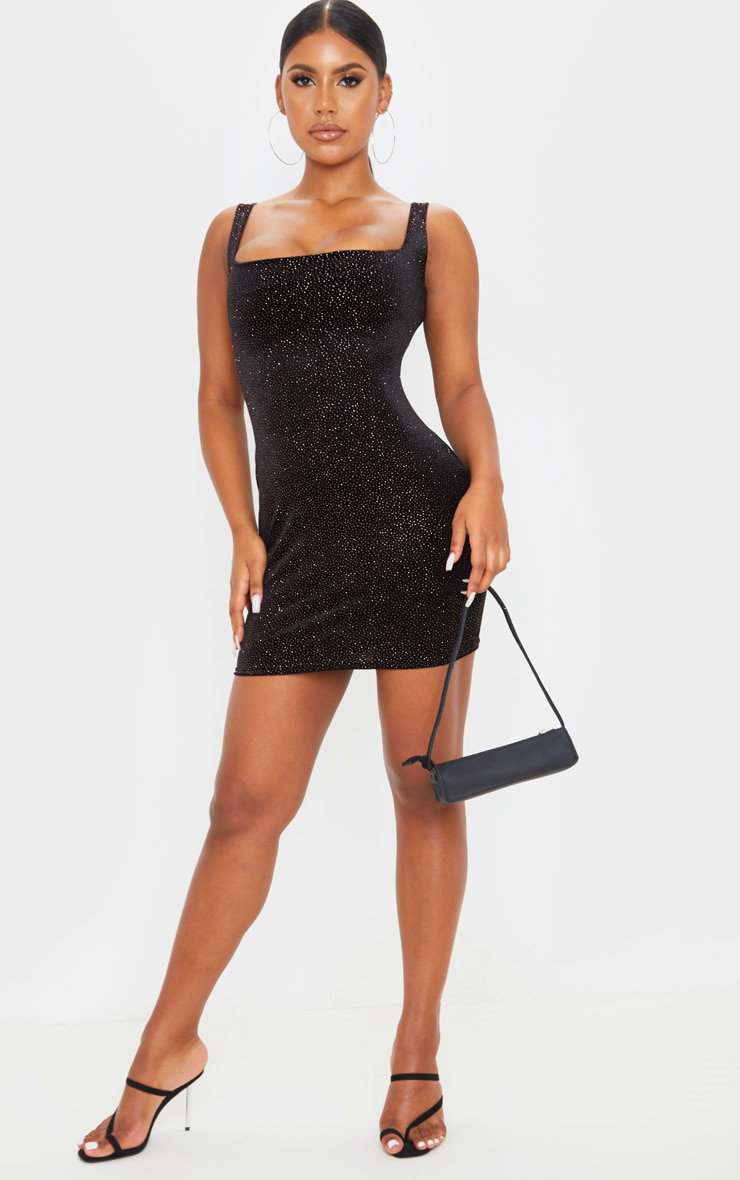 Black Glitter Velvet Sleeveless Square Neck Bodycon Dress 4