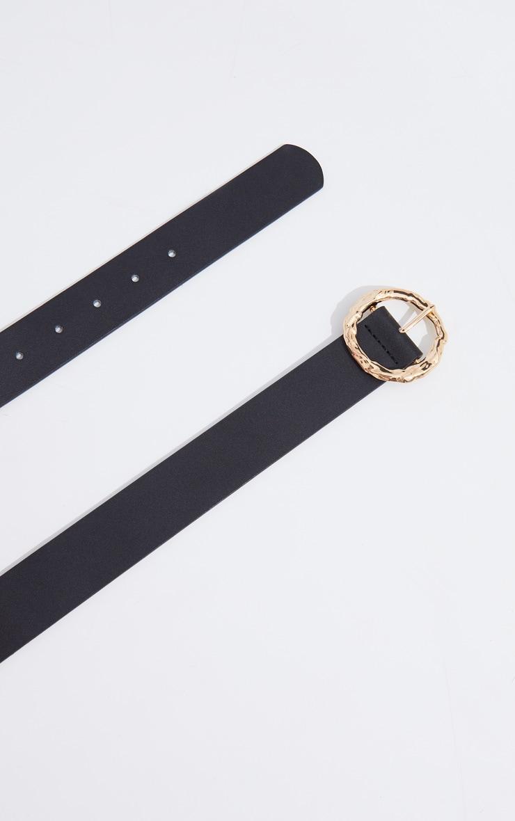 Gold Circular Textured Buckle Waist Belt 2