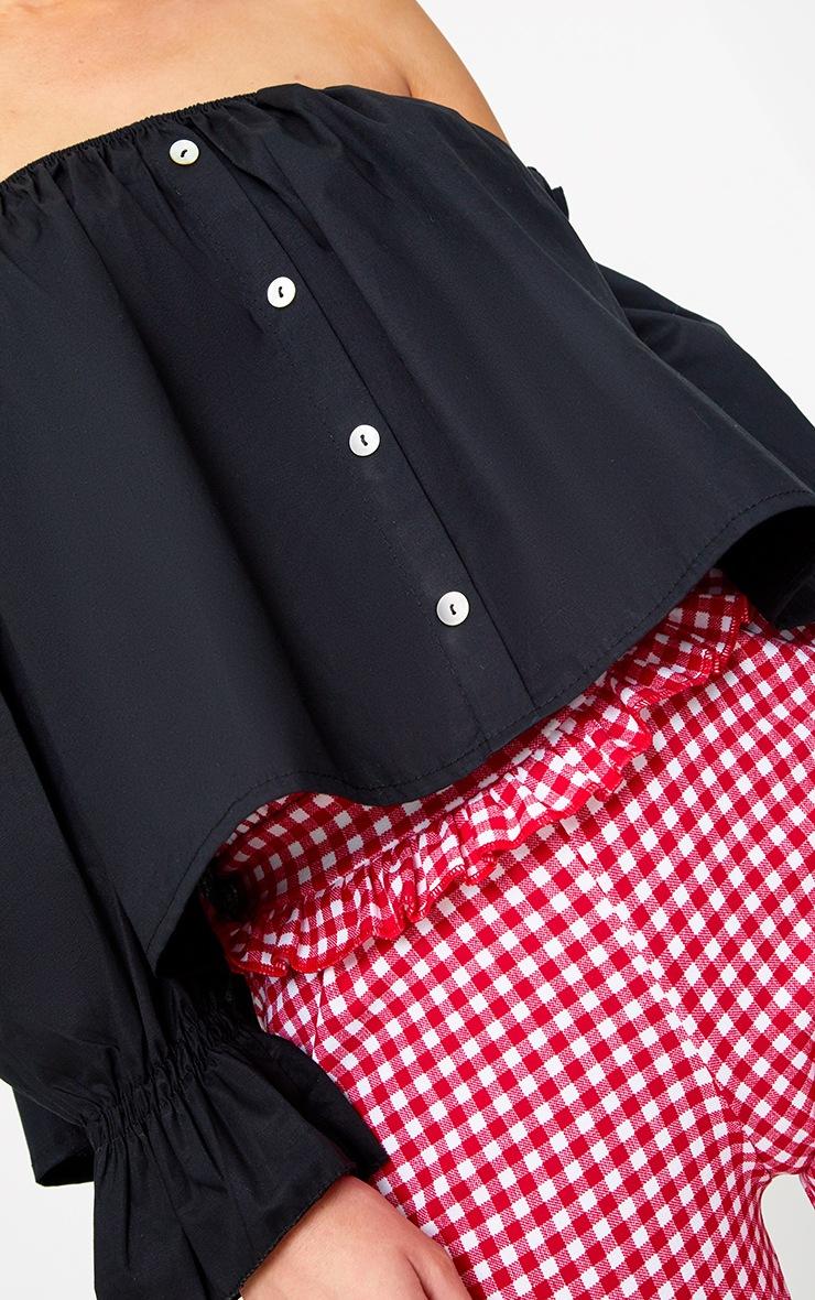Black Bardot Button Front Shirt 4