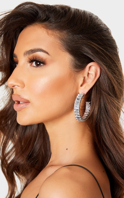 Silver Square Set Diamante Chunky Hoop Earrings