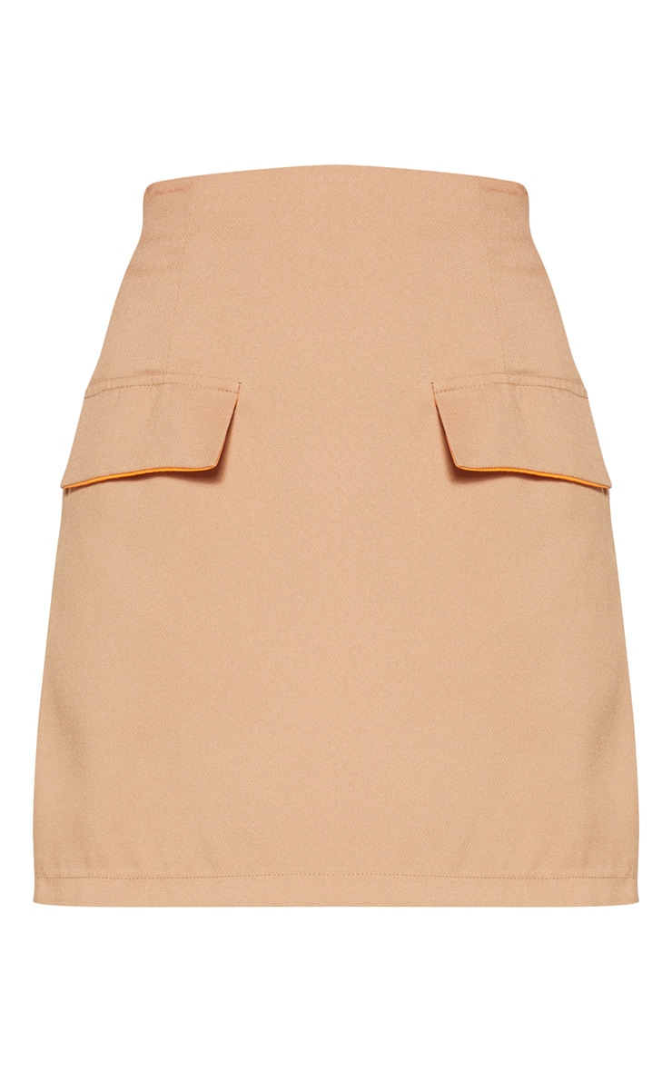 Camel Formal Pocket Flap Front Mini Skirt 3
