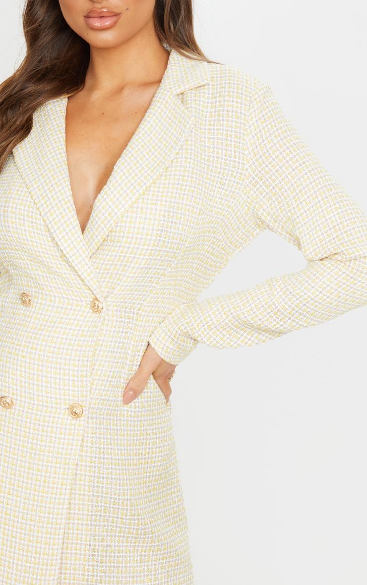 Yellow Tweed Gold Button Blazer Dress 3