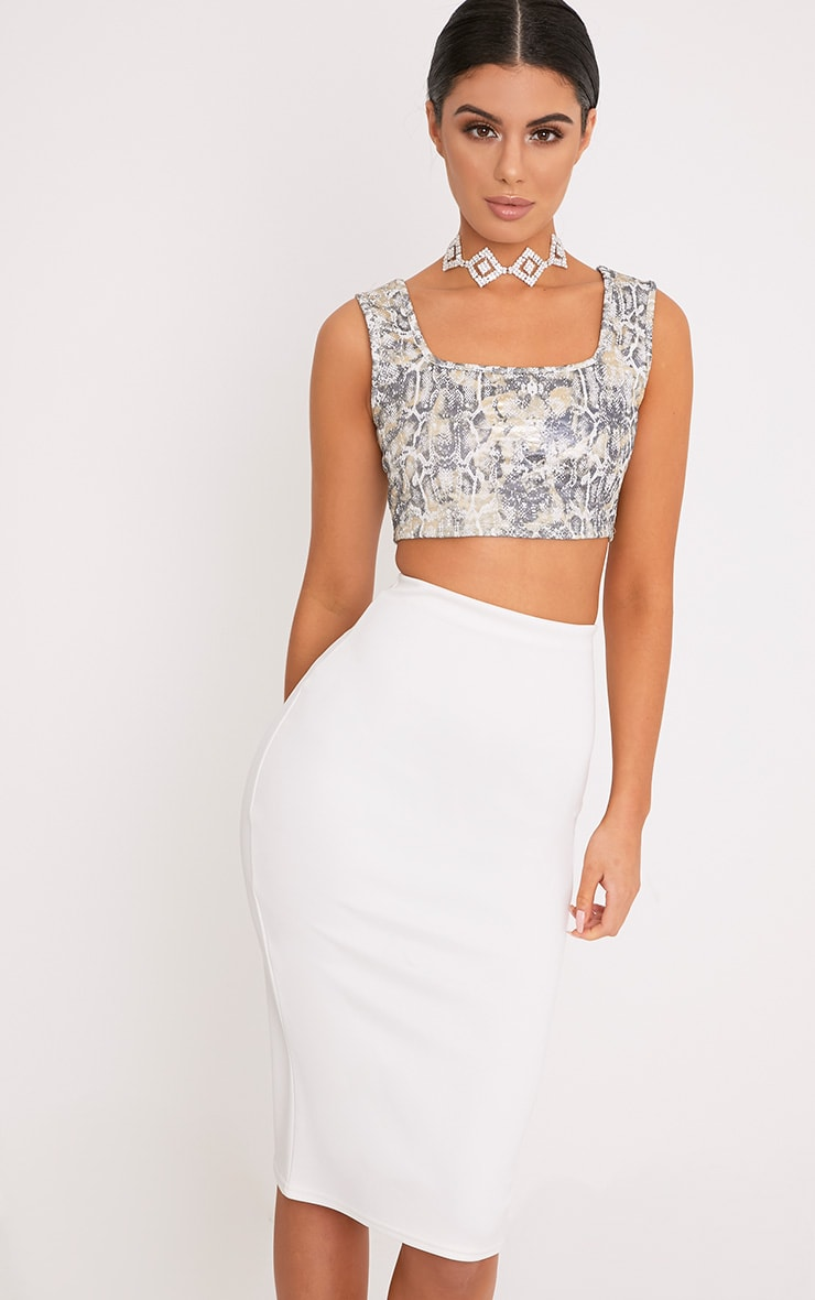 Dolley Grey Snake Print PU Crop Top  1