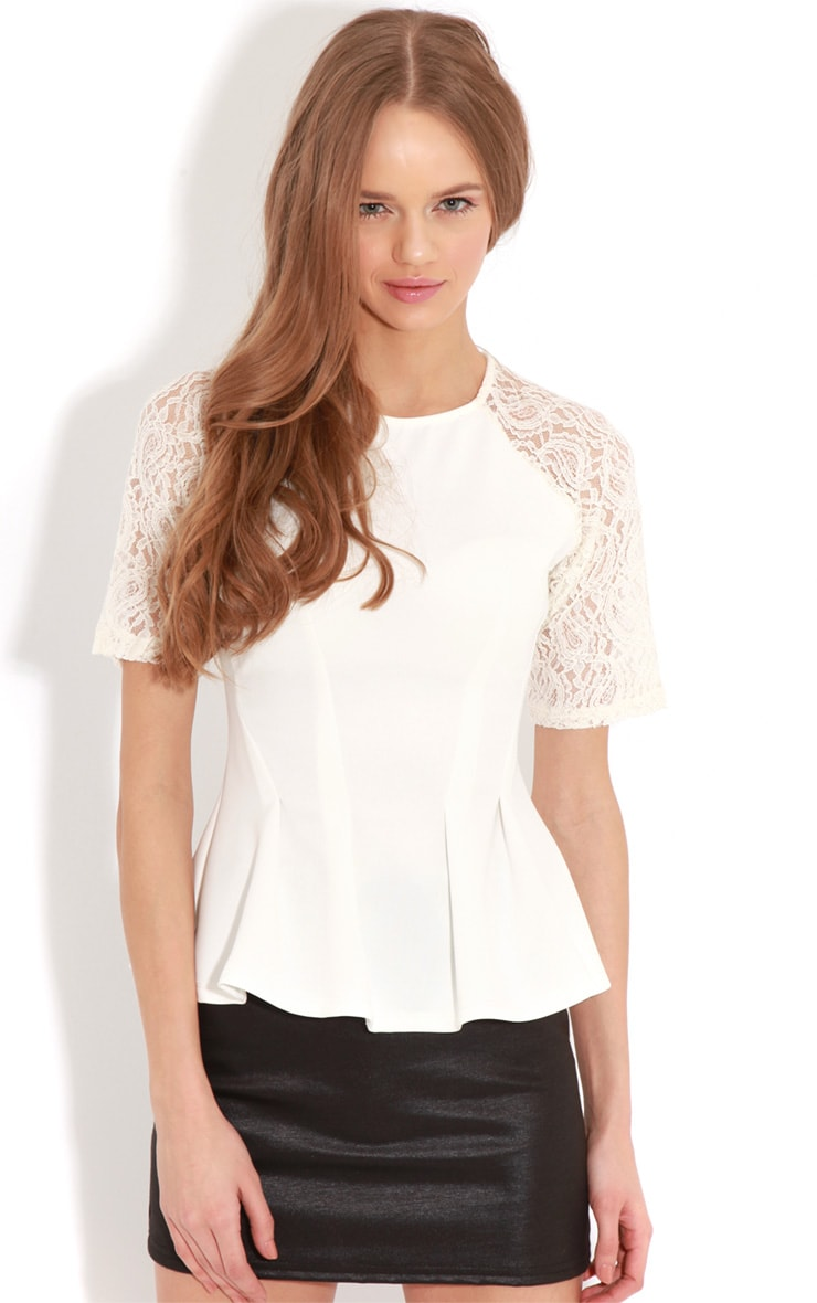 Tamia Cream Peplum Top With Lace Capped Sleeves 1