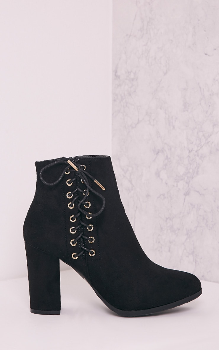 Honor Black Lace Up Side Heeled Ankle Boots 3