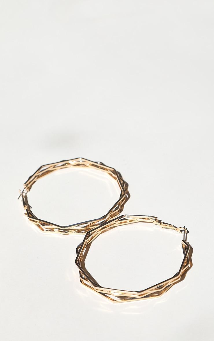 Gold Triple Hexagon Hoop Earring 3