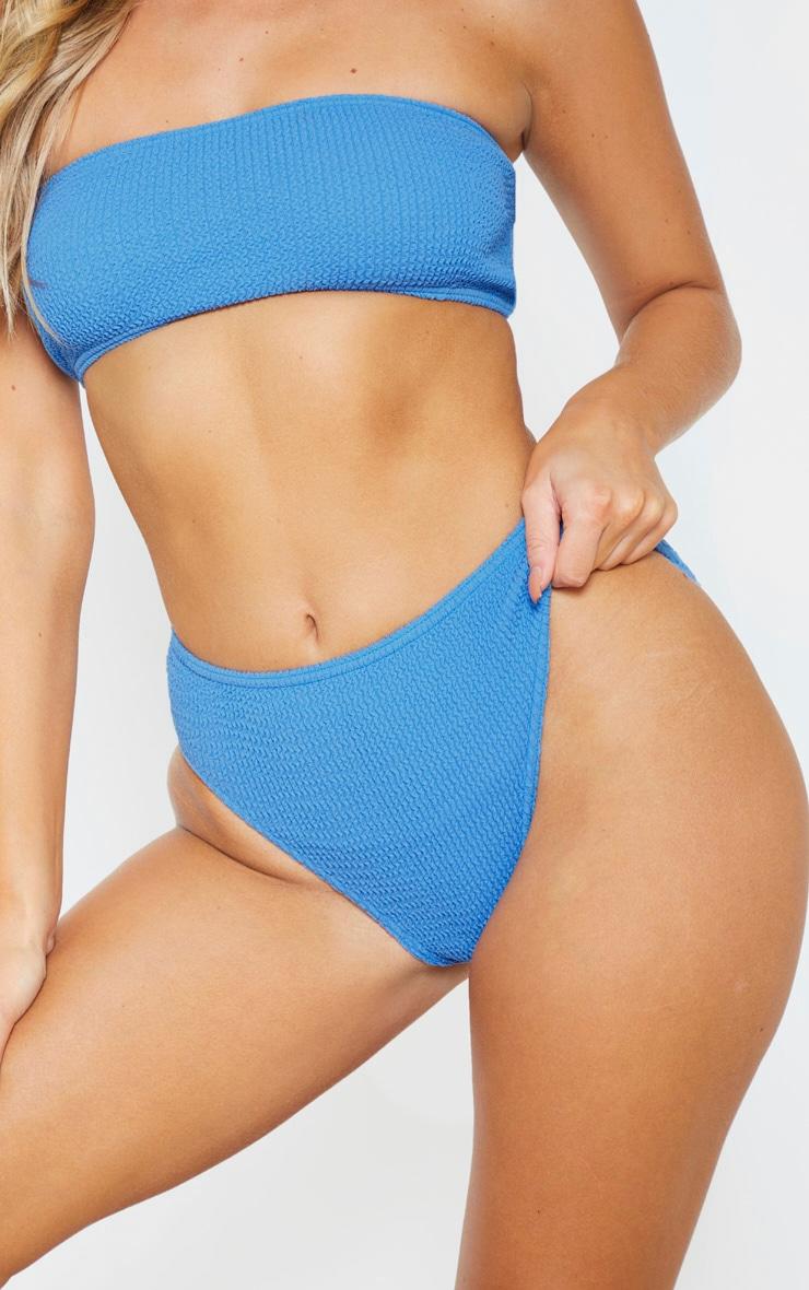 Blue Crinkle High Waist Bikini Bottom 6