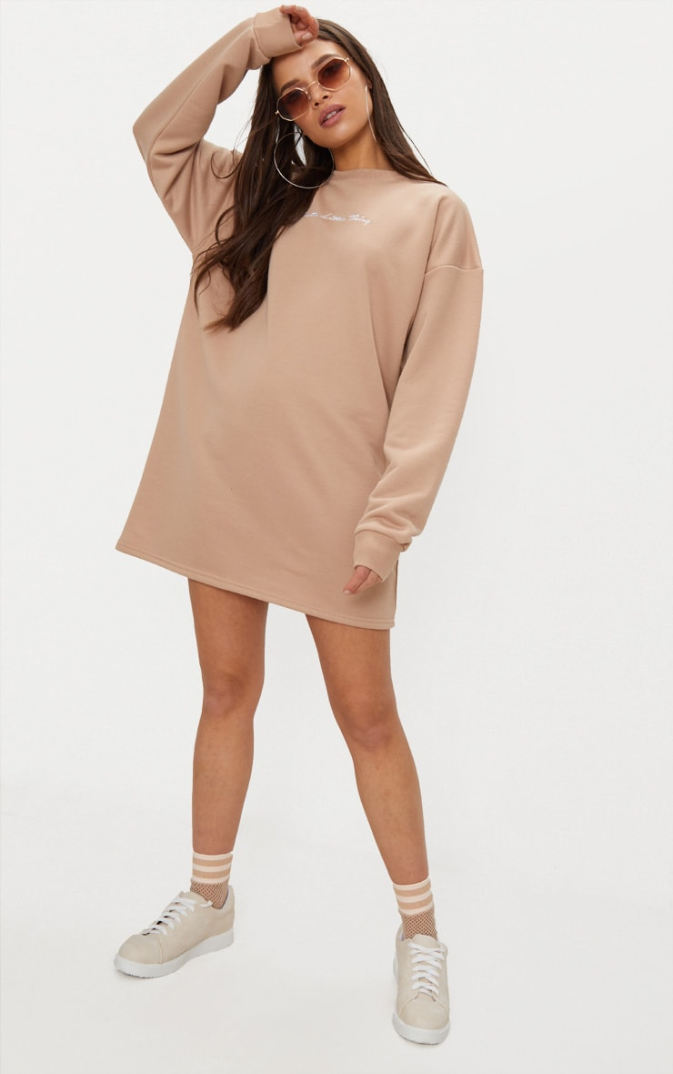 PRETTYLITTLETHING Stone Embroidered Jumper Dress 2