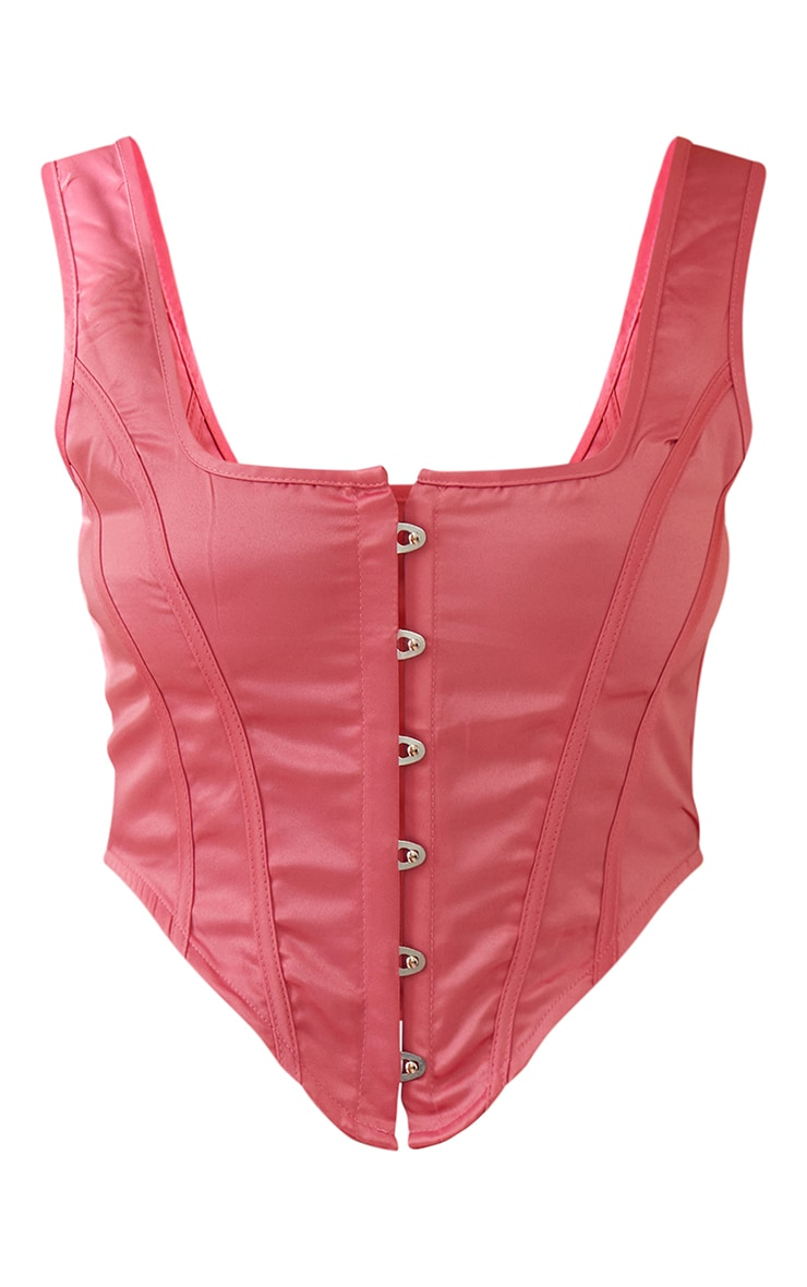 Candy Pink Satin Hook And Eye Curved Hem Corset 6