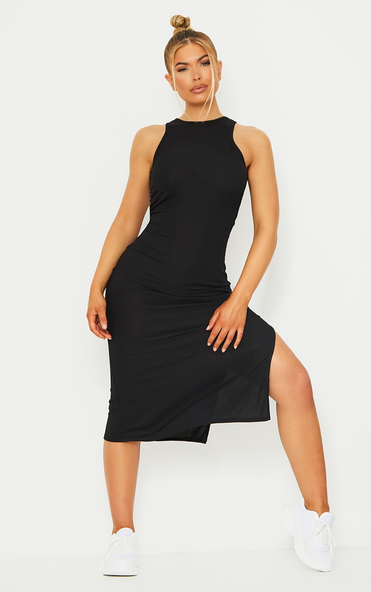 RECYCLED Black Rib Racer Neck Underbust Detail Split Midi Dress 1