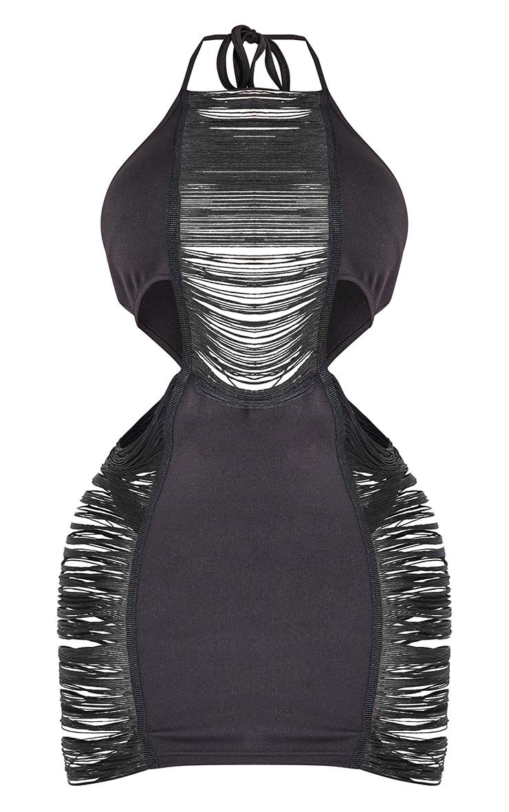 Shape Black Fringe Detail Cut Out Halterneck Bodycon Dress 5