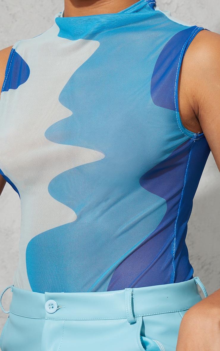 Blue Abstract Wave Print Mesh Sleeveless Bodysuit 4