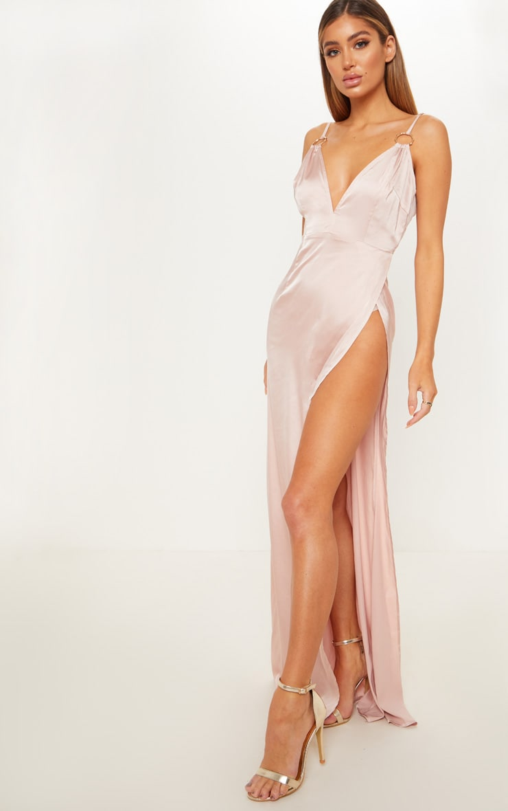 Champagne Ring Detail Extreme Plunge Maxi Dress  4