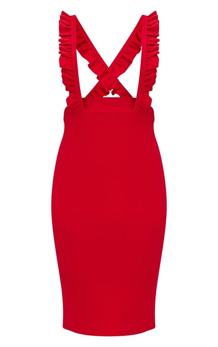 Red Frilly Brace Midi Skirt 3