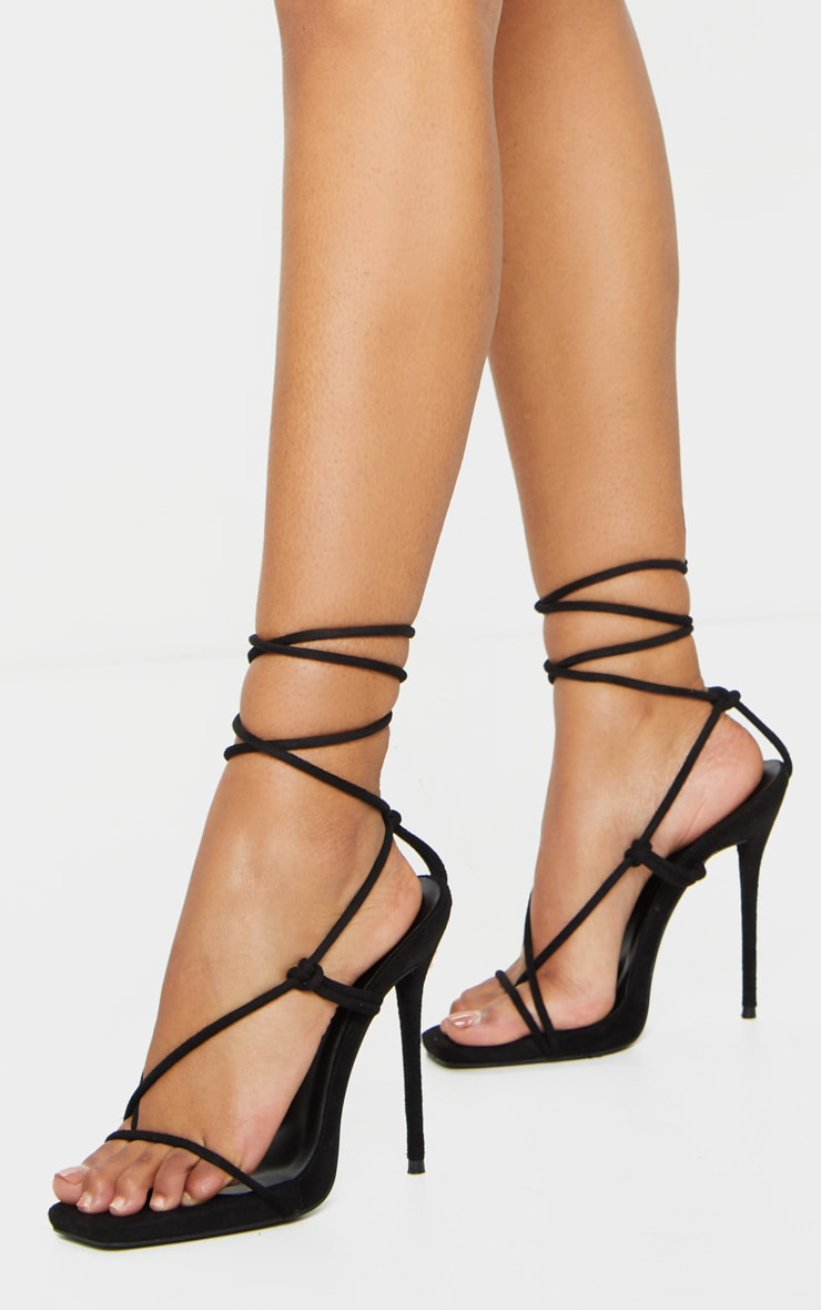 Black Square Toe Stiletto Heel Toe Thong Strappy Sandal 3