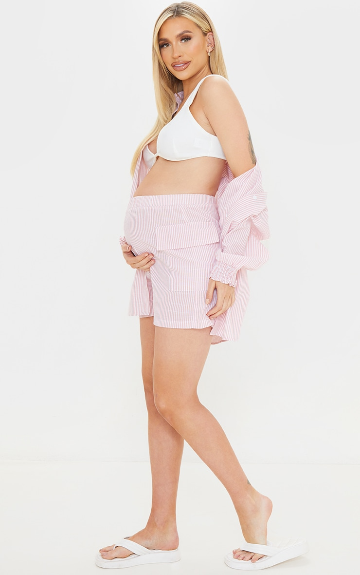 Maternity Pink Linen Look Stripe Pocket Detail Shorts 1