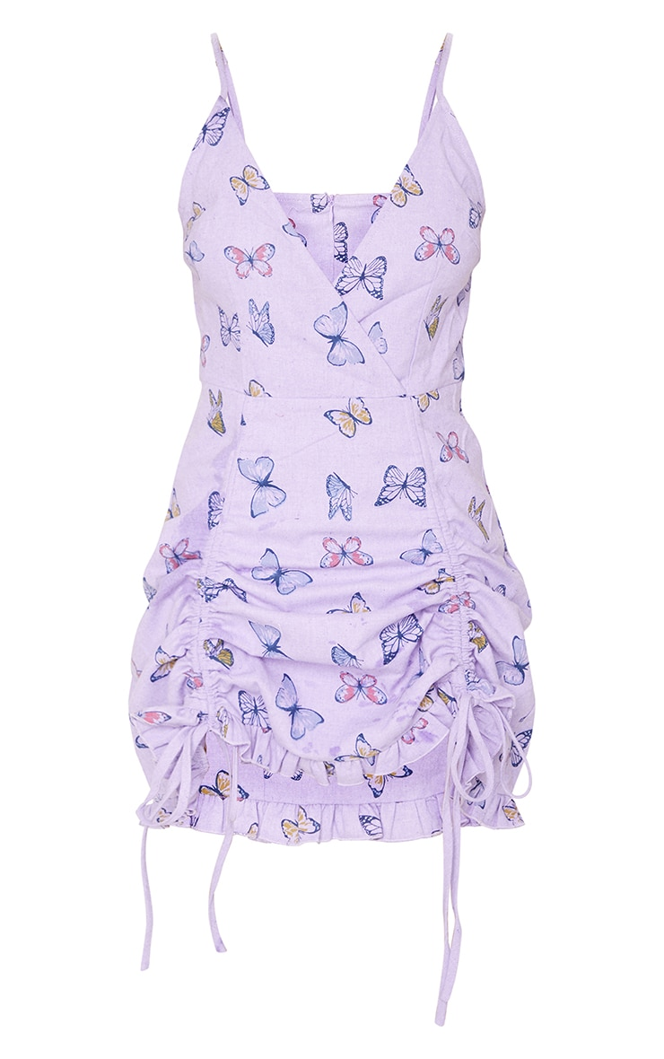 Lilac Butterfly Print Ruched Cami Dress 5