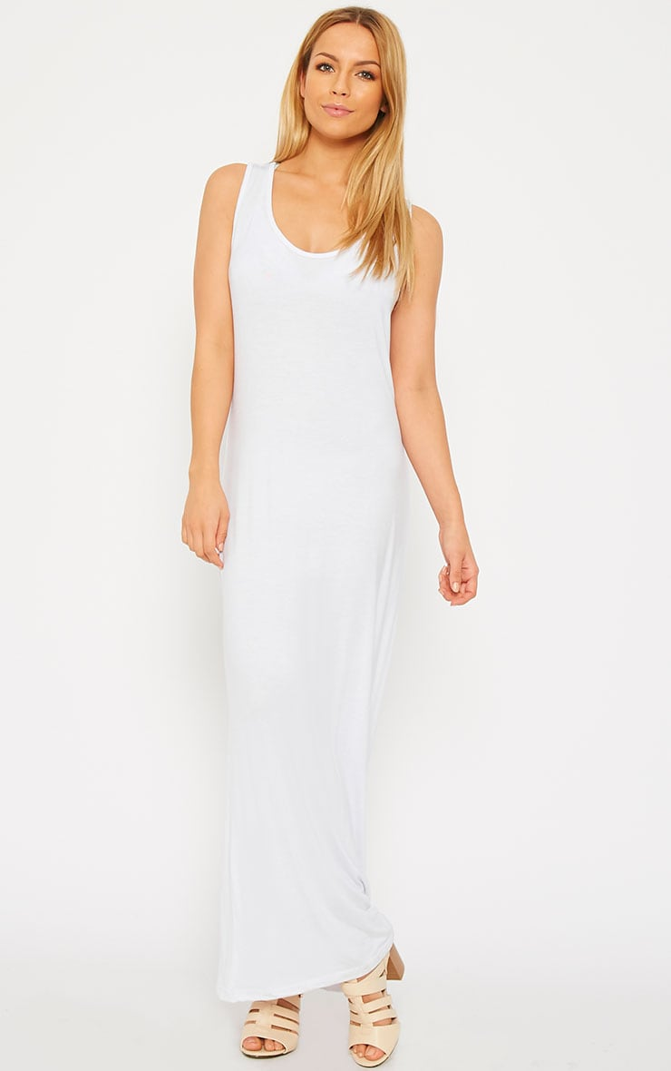 Basic White Jersey Maxi Dress 1