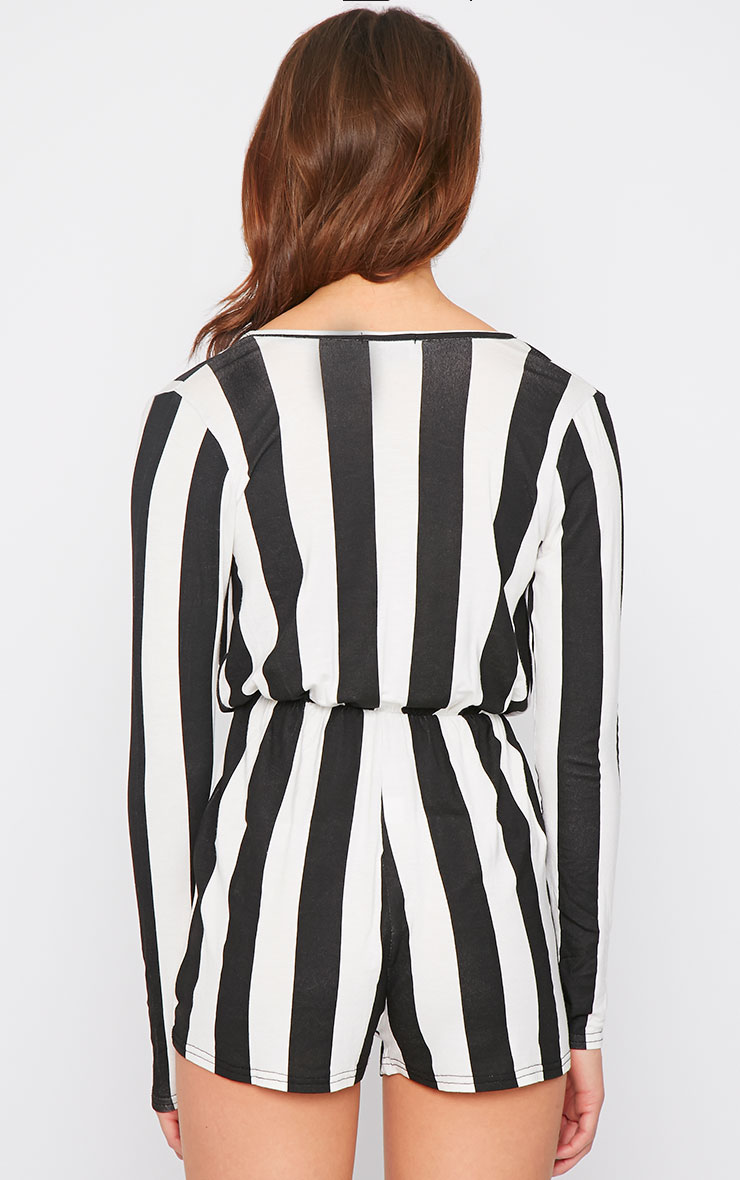 Indra Monochrome Striped Wrap Over Playsuit  4
