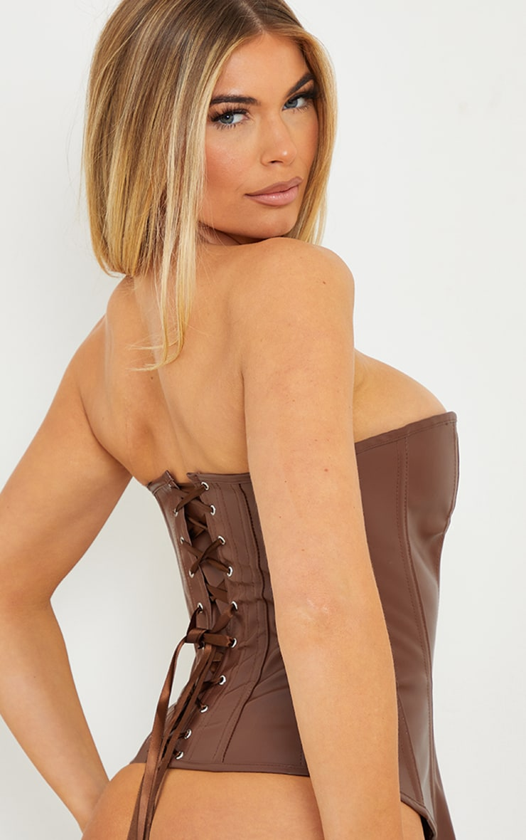 Chocolate Faux Leather Hook Front Corset Set 2