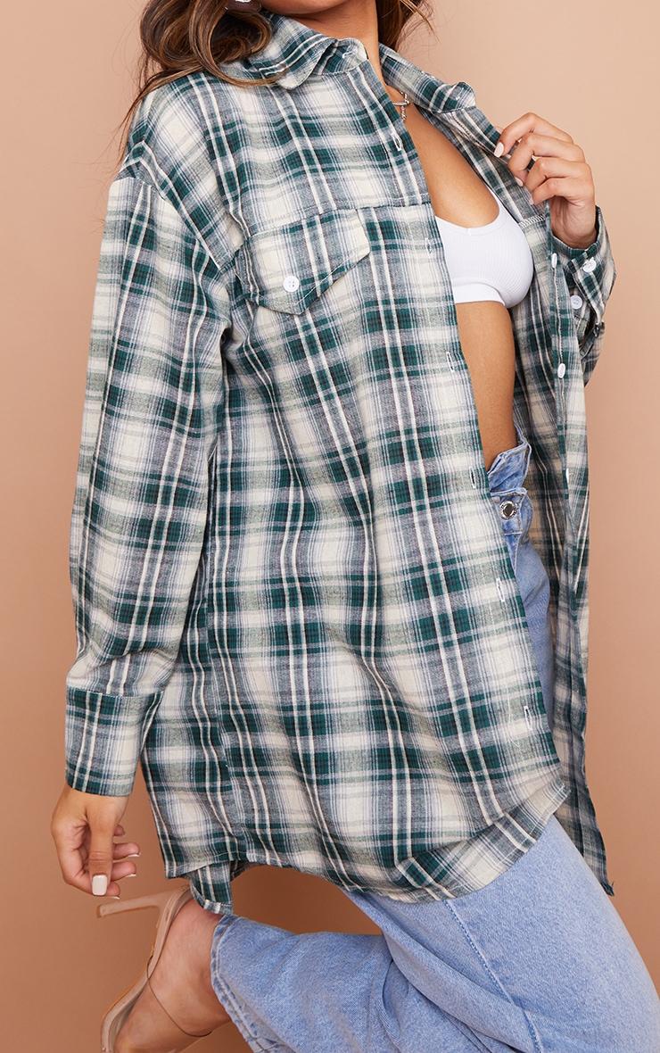 Petite Mint Checked Oversized Shirt 4