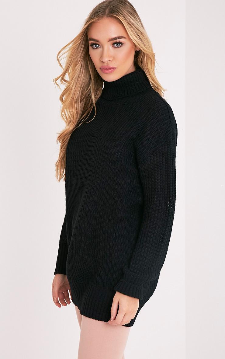 Zora pull noir tricoté surdimensionné à col roulé 4