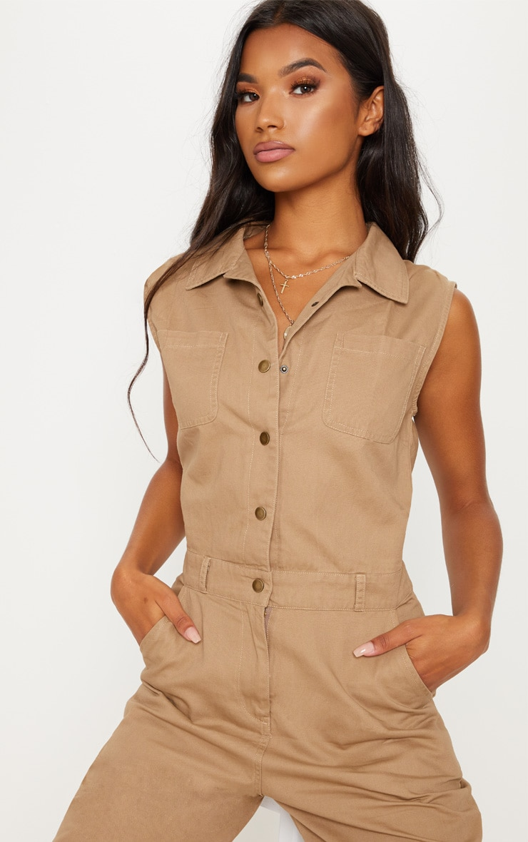 Stone Sleeveless Utility Boilersuit 5