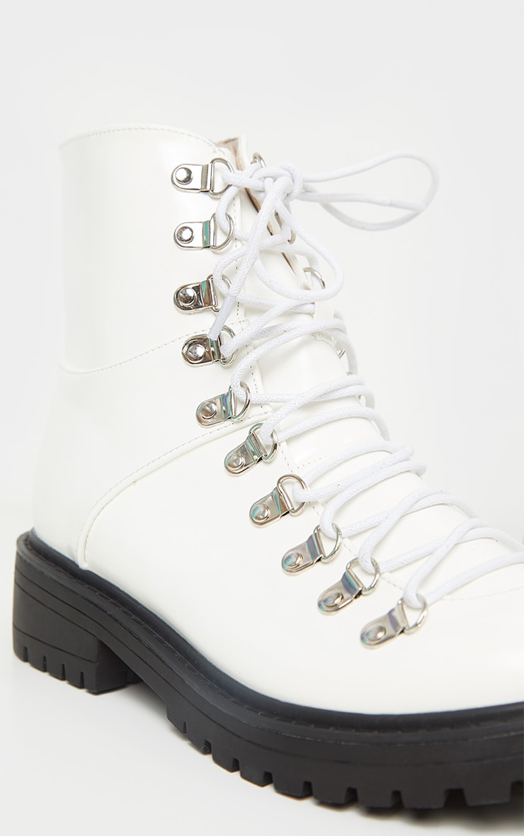 White Cleated Sole Hiker Eyelet Ankle Boot 4
