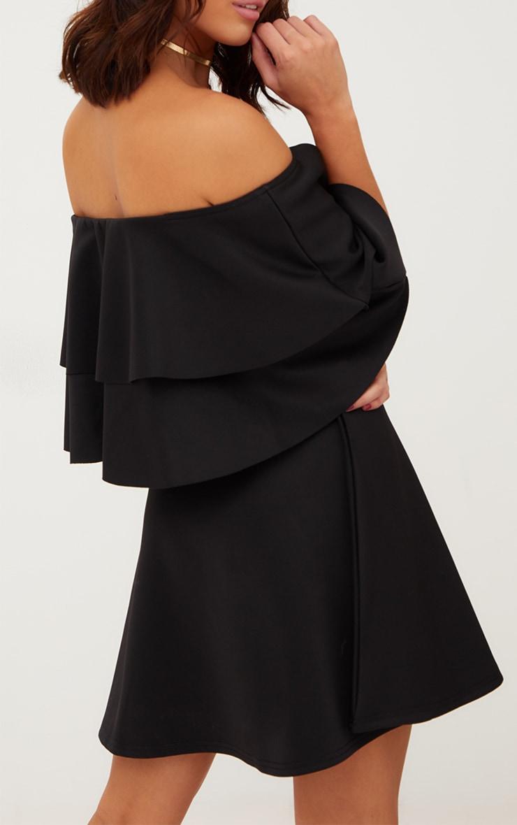 Black Frill Bardot Skater Dress 5