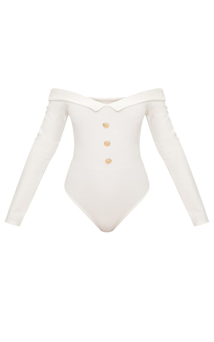 White Button Front Tux Detail Long Sleeve Thong Bodysuit  3