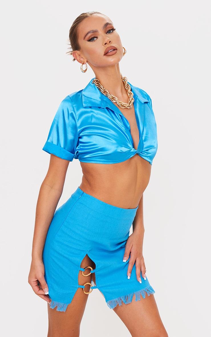 Cornflower Blue Ring Detail Mini Skirt 4