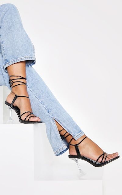 Black Clear Cake Stand Strappy Ankle Tie Sandal