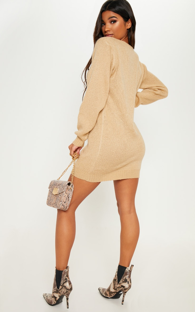 Stone Soft Knitted Off the Shoulder Mini Dress 2