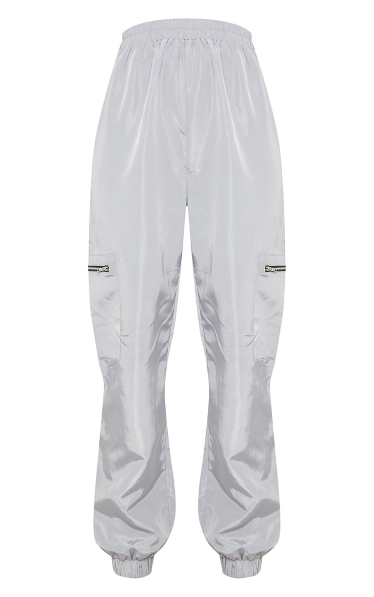 Tall Grey Zip Detail Shell Joggers 3